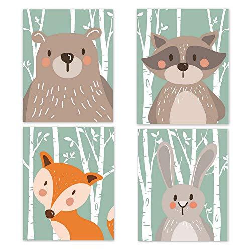 4er Set Kinderzimmer Babyzimmer Poster Bilder Din A4 | Mädchen Junge Deko | Dekoration Kinderzimmer | Waldtiere Safari Skandinavisch(Bär,Kaninchen,Fuchs) Grüner Boden