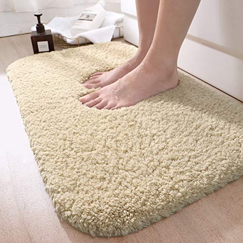 DEXI Bathroom Rug Mat, 43x24, Extra Soft and Absorbent Bath Rugs, Machine Wash Dry, Non-Slip Carpet Mat for Tub, Shower, and Bath Room, Beige