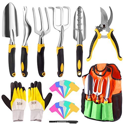 Yodeace 18 Piezas Herramientas Jardinería, Kit Jardineria Palas de Aleación de Aluminio Rastrillo Tenedor Tijeras de Podar Y Etiquetas Guantes Bolsa de Almacenamiento El