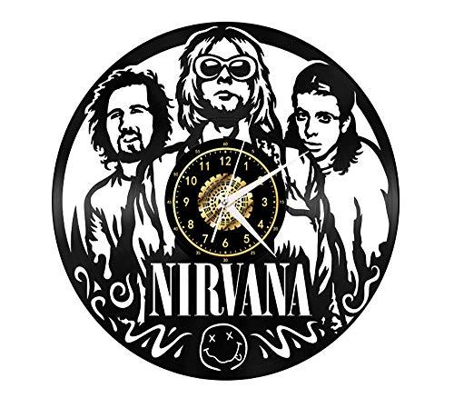 "Xiayanmei Nirwana Vinyl Record Wanduhr Fan-Kunst-Dekor Originelles Geschenk Einzigartige Dekorative Vinyl Clock Schwarz 12\"" (30 cm),I"