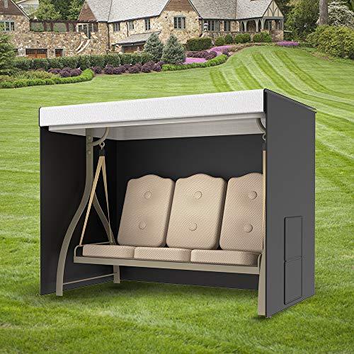 JTWEB Garden Swing Cover 3 Seater Waterproof Windproof Anti-UV Heavy Duty 210D Oxford Fabric Outdoor Garden Hammock Cover With Side Pocket