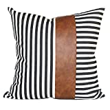 Kdays Thick Canvas Farmhouse Black Striped Throw Pillow Cover Decorative Cotton Faux Leather Ticking Stripe Cushion Pillowcase Modern Minimalist Sofa Couch Square Pillow 18x18 Inches