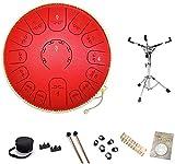 Thumue Drum in acciaio, Thumue Drum in acciaio 14 pollici 15 Nota con bacchette Drum + PROFESSIONAL Drum Stand Music Education Strumento percussioni |Guarigione mentale |.Meditazione netta yoga Tambur