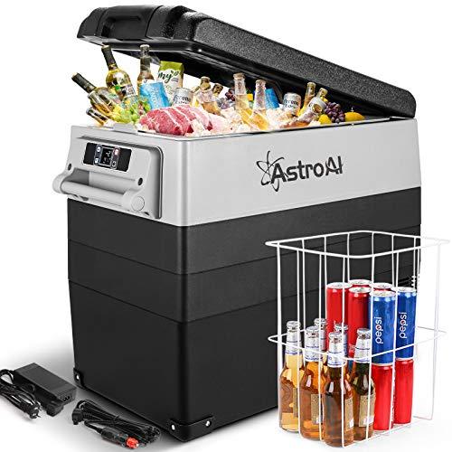 AstroAI 12 Volt Refrigerator 58 Quart Portable Freezer Car Refrigerator 55L(-4℉~68℉) with 12/24V DC and 110V AC, Compressor Refrigerator for Car, RV, Truck, Van, Camping and Home