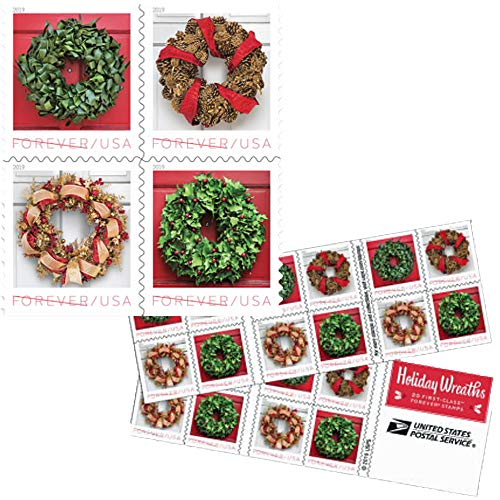 Forever Holiday Wreaths - Book of 20 Forever Postage Stamps Scott Forever Holiday Wreaths - Book of 20 Postage Stamps
