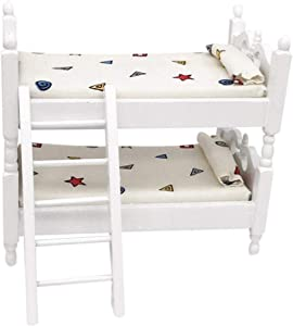ManFull Miniature Dollhouse Ornament,1/12 Bunk Bed Living Room Furniture Decor for Kids Children Funny Pretend Play Toys Role Playing Toy