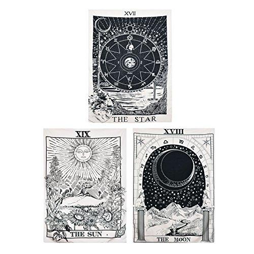 BLEUM CADE Tarot-Tapisserie The Moon The Star The Sun Tapisserie Mittelalter Europa Wahrsagung Tapisserie Wandteppich Mysteriöse Wandteppich für Heimdekoration (3 Stück, 130 × 140 cm)