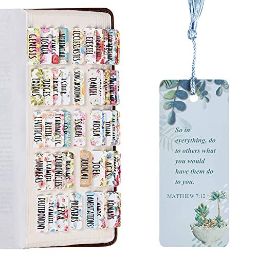 Laminated Bible Tabs, Bible Journaling Supplies, Personalized Bible Tabs for Women and Girl, 90 Bible Index tabs in Total, 66 Bible tabs for Old and New Testament, Additional 24 Blank tabs