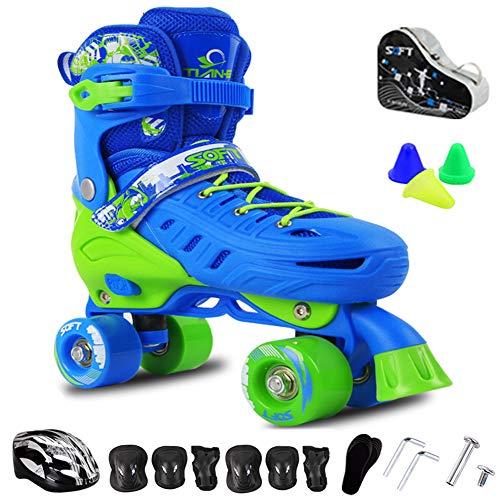 Rolschaats verstelbaar voor kinderen, quad rolschaatsen lichtgewicht voor tieners, lichtgewicht schaatsen, duurzame remmen, kinderveiligheidspads helm skate set