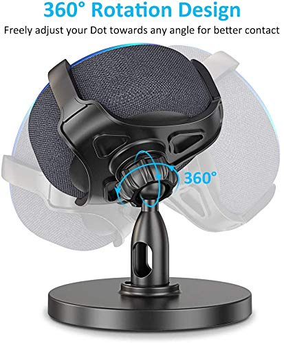 Bovon Table Holder for Echo Dot 3rd Generation, 360° Adjustable Stand Bracket Mount for Smart Home Speaker, Improves Sound Visibility and Appearance, Dot Accessories (Black)