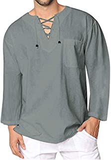 Mens Cotton Linen Shirt Long Sleeves Lace-up V-Neck Basic Casual Tshirt Modern Lightweight Classic Loose Shirt Tops Comfor...