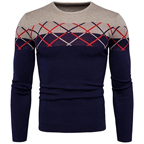 Elonglin Homme Pulls Rayure Tricote Rétro Pullover Col Rond Sweater Automne Hiver Bleu Foncé FR S (Asie M)