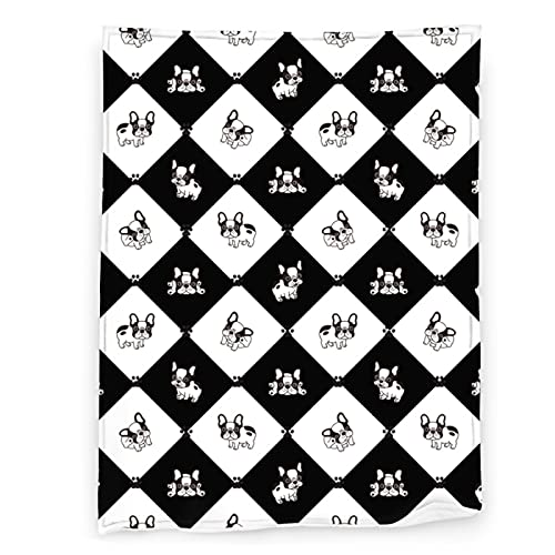 Black and White French Bulldog Throw Blanket Soft Lightweight Warm Flannel Comfort Gift Throws Bedding for Home Bed Sofa Couch Travel
