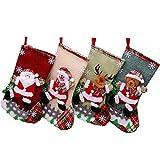 Sohapy 4 medias de Navidad para colgar fiestas de Navidad, adornos clásicos lindos de Papá Noel muñeco de nieve y reno personaje para calcetines de Navidad, regalos de Navidad (19 x 30 cm)