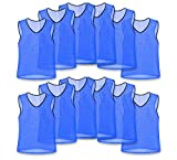 Unlimited Potential Nylon Mesh Scrimmage Team Practice Vests Pinnies Jerseys for Children Youth Sports Basketball, Soccer, Football, Volleyball (12 Pack, Blue, Youth)