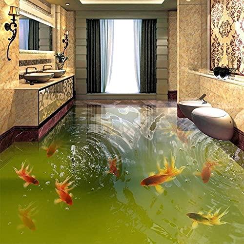 Mural de suelo autoadhesivo impermeable de PVC personalizado, estanque de peces de colores clásicos, pintura de suelo de baldosas 3D, baño, dormitorio, decoración del hogar-150x105cm