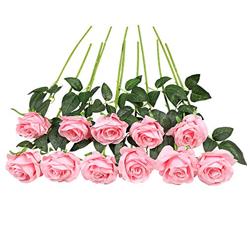 JUSTOYOU 10 Pack Artificial Silk Rose Flowers Wedding Bouquets(Light Pink)
