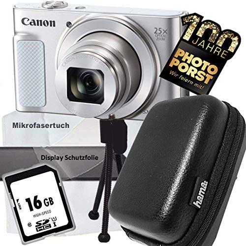 1A Photo PORST Aniversario Oferta Canon PowerShot SX620 HS Accessories Set (plata blanca, incluye trípode, protector de pantalla, tarjeta de memoria SD de 16 GB, paño de microfibra)