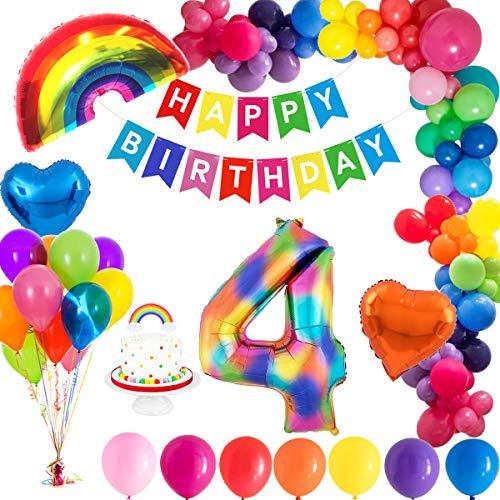 MMTX 4. Geburtstag Dekorationen, Geburtstag Party Deko geburtstagsdeko mit Happy Birthday Ballons Banner, Zahlen Luftballons, Regenbogen Herz Folienballons und Kuchendeckel für Kinder Mädchen Jungen