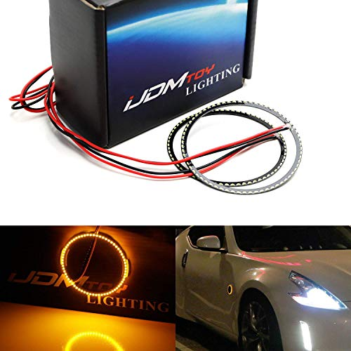 iJDMTOY (2) Super Bright 66-SMD Amber Yellow Z4 Style LED Illuminating Rings For Nissan 350Z 370Z Side Markers