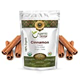 Organic Way Premium Cinnamon Cassia Sticks (Cinnamomum cassia) - Adds Flavour & Aroma | Organic & Kosher Certified | Vegan | Raw, Non GMO & Gluten Free | USDA Certified | Origin - India (1/4LBS / 4OZ)