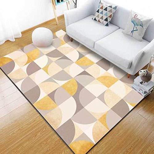 CMwardrobe Salón Dormitorio Alfombra Moderno Pelo Corto Alfombra Costuras Geométricas Amarillo Gris Antideslizantes Alfombras diseño Tapete 150×170CM