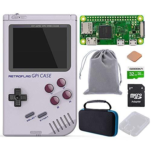 GeeekPi Retroflag GPi Case with Raspberry Pi Zero W & Raspberry Pi Heatsink & Black Carrying Bag & 32G SD Card for Raspberry Pi Zero and Zero W with Safe Shutdown (GPi Case with Zero W Bag 32G)