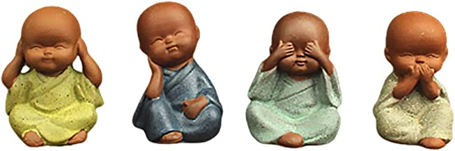 EXCEART 4Pcs Little Monk Figurines Buddha Statue Micro Landscape Dolls Wise Monks Tea Pets Tabletop Display Sculpture for ...