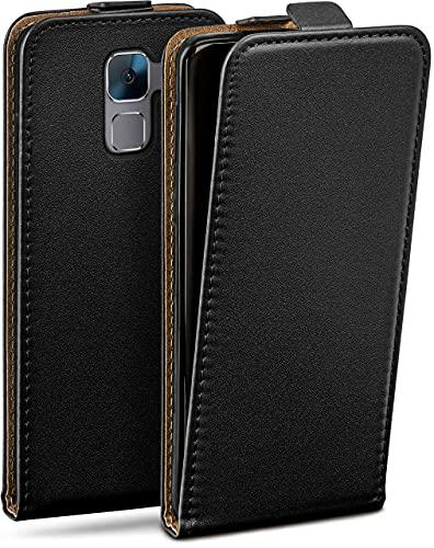 moex Flip Hülle für Huawei Honor 7/7 Premium Hülle klappbar, 360 Grad R&um Komplett-Schutz, Klapphülle aus Vegan Leder, Handytasche mit vertikaler Klappe, magnetisch - Schwarz