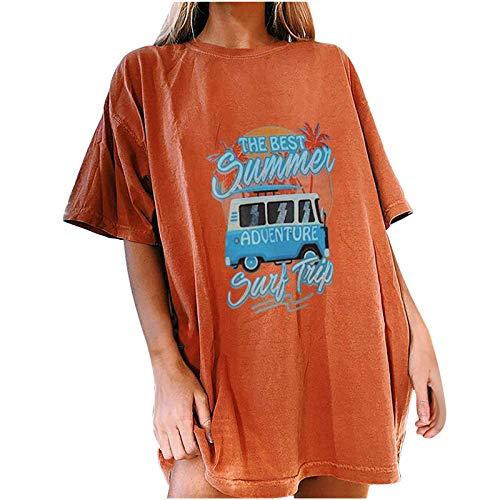 T-Shirt Femme été Mode Manches Tombantes Col Rond Grande Taille Haut Loose Chemisier à Manches Courtes décontracté à Motif de Voiture Vintage pour Femmes Tee Shirt Ete Chic Sexy Crop Tunique
