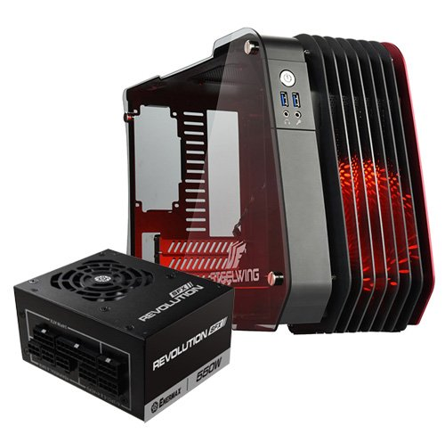 Enermax STEELWING Red with Revolution SFX 550W Cases ECB2010R (w/PSU) Red
