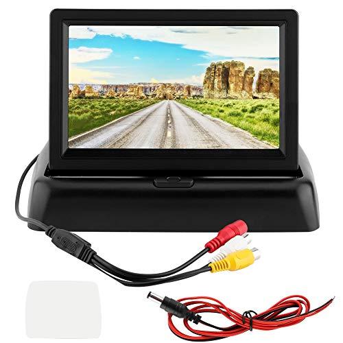 "Duokon Rearview Monitor LCD de marcha atrás, Universal 4.3""Pantalla LCD Monitor de carro plegable Pantalla de entrada de dos canales para camiones de automóviles"