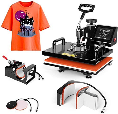Pro 5 in 1 TUSY Heat Press Machine 15x15 Swing Away Heat Transfer Press Digital Sublimation for T-Shirts/Mugs/Caps/Plates/Hats