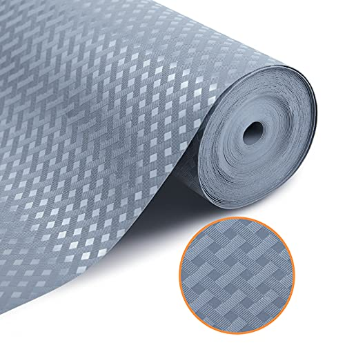 Shelf Liner Non Adhesive, Non Slip Drawer Liner for Kitchen, Waterproof Refrigerator Liner Washable, Fridge Liners Mats, Pantry Cabinet Liner for Shelves, Cupboard, Table-Grey 11.8 x 59 Inches