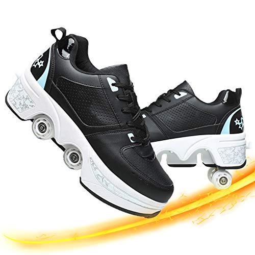 Dytxe 2 in 1 Mehrzweckschuhe Schuhe Mit Rollen Skateboardschuhe, Inline-Skate, Verstellbare Quad-Rollschuh Stiefel Skateboardschuhe Für Indoor Outdoor (Black Blue, 40)