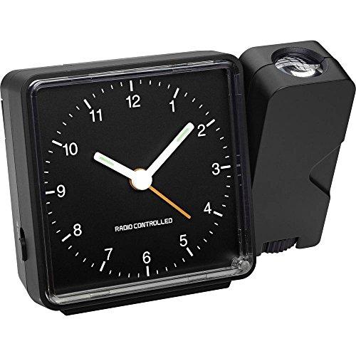 TFA Dostmann 60.5012.01 Funk-Projektionswecker, mit analoger Anzeige, Projektion and Wand oder Decke, 11,5 x 5,3 x 8,3 cm schwarz