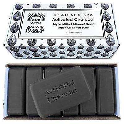 DEAD SEA Salt CHARCOAL SOAP, 4oz 6pk – Activated Charcoal, Shea Butter, Argan Oil. For Problem Skin, Skin Detox, Acne Treatment, Eczema, Psoriasis, Antibacterial, Natural