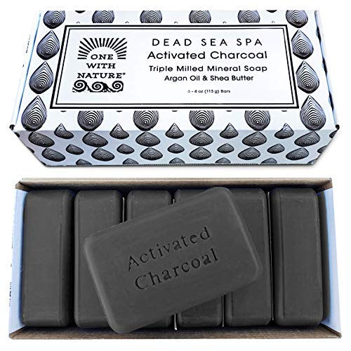 DEAD SEA Salt CHARCOAL SOAP, 4oz 6pk – Activated Charcoal, Shea Butter, Argan Oil. Dead Sea Salt contains Sulfur, Magnesium, and 21 Essential Minerals. For Problem Skin, Skin Detox, Natural.