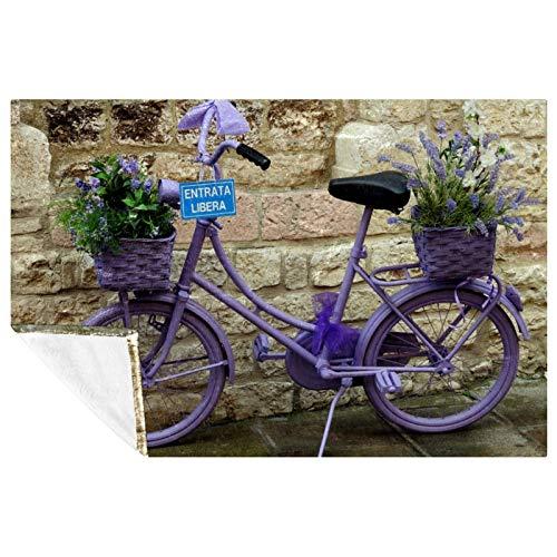 EZIOLY Manta de lavanda para bicicleta, manta de felpa súper mullida, suave y cálida, para cama, sofá, al aire libre, viajes, picnic, camping (59 x 39 pulgadas)