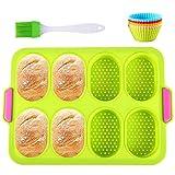 Moldes de panadería,Moldes Silicona, Moldes para Hornear Pan Antiadherentes 13 en 1 Kit, Moldes para Hornear Pan Antiadherentes, 10 Moldes de cupcake reutilizables, Cepillo De Aceite