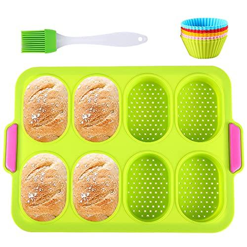 Moldes para Hornear Pan Antiadherentes 12 en 1 Kit, Moldes para Hornear Pan Antiadherentes, Moldes de panadería,Moldes Silicona, 10 Moldes de cupcake reutilizables, Cepillo De Aceite