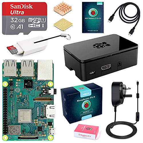 Raspberry Pi 3 B+ Model B Plus Complete Starter Kit Motherboard 32GB SanDisk EVO+ SD Card NOOBS, 3A On/off UK Edition Power Supply, Support POE (Raspberry Pi 3 B+ Starter kit- 32G)