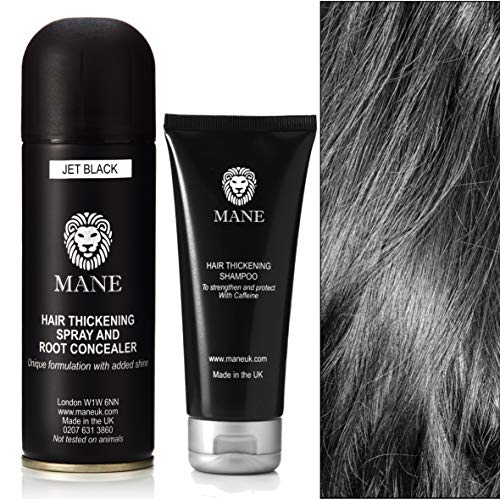 Mane Shampooing Épaississant et Mane Spray Épaississant/Retouche Racines 200 ml Jet Black