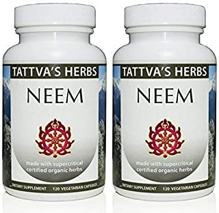 Organic Neem Leaf Holistic Extract - Internal Detox, Reduces Acne, Supports Healthy Skin 500 mg. 240 Vcaps Herbal Suppleme...