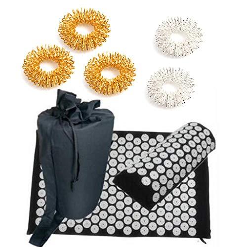 Zhoujinf Tapis d'acupression, coussin de massage, tapis de yoga 4 pièces (oreiller + coussinet + anneaux de massage des doigts + sac de transport) pour soulager efficacement le stress du dos et du cou
