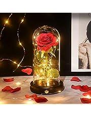 Shirylzee バラ LED 造花 ライト キラキラ ローズ ライト 電池式 雰囲気作り バレンタイ ホワイトデー 用 ギフト インテリア飾り 母の日、クリスマス、誕生日、記念日、結婚式 お祝い 贈り物 プレゼント 永遠の愛 (ライト/木製ベース/ガラスカバー)