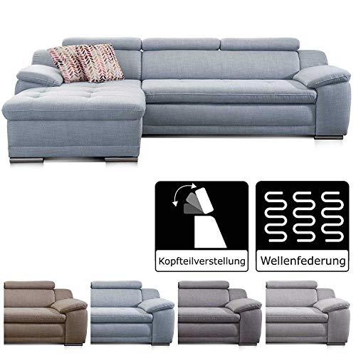Cavadore Ecksofa Aniamo mit XL-Longchair rechts Eckcouch im modernen Design / Inkl. Verstellbarer Kopfteile / 270 x 80 x 165 / Grau