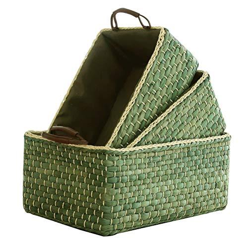 Tejido a Mano de la Rota la Cesta del almacenaje Artículos del hogar Caja de Almacenamiento Cesta Verde Cesta del almacenaje Snack-Basket, algodón y Lino de la guarnición con la manija