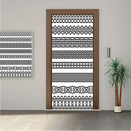 Ylljy00 Irish Door Wall Mural Wallpaper Stickers,Vintage Borders in The Form of Celtic Classical Ornaments Horizontal Striped Pattern 30x80 Vinyl Removable Decals for Home Decoration