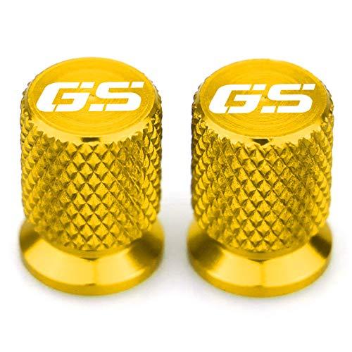 ZHAOYAN Tapa De Válvula De Neumático De Motocicleta (2 Piezas) Tapones Antipolvo De Aluminio con Anillo De Sellado Apto para B-M-W R1200GS R1250GS,Oro